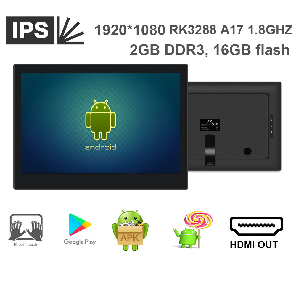 14 Inch Touch Cloud Pos Display ( Android 5.1 Lollipop, 1920*1080, Rockchip3288 Quad Core, 2GB DDR3, 16GB Nand, USB*1, Mini Usb)