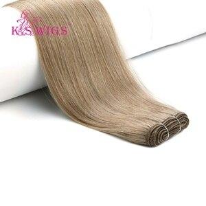 Image 4 - K.S WIGS 24 100 กรัม/ชิ้นตรง Remy Weft Human Hair Extensions Double วาดมนุษย์ผมสานการรวมกลุ่ม