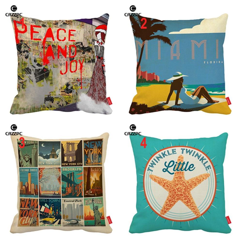 Holiday Decorative Chair Covers Brown Plastic Adirondack Chairs ჱvintage Urban Miami Beach Collages Poster Starfish Print Vintage Pillowcase Cushion Sofa Home Decor