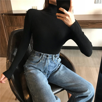 2021 Autumn Winter Thick Sweater Women Knitted Ribbed Pullover Sweater Long Sleeve Turtleneck Slim Jumper Soft Warm Pull Femme 6