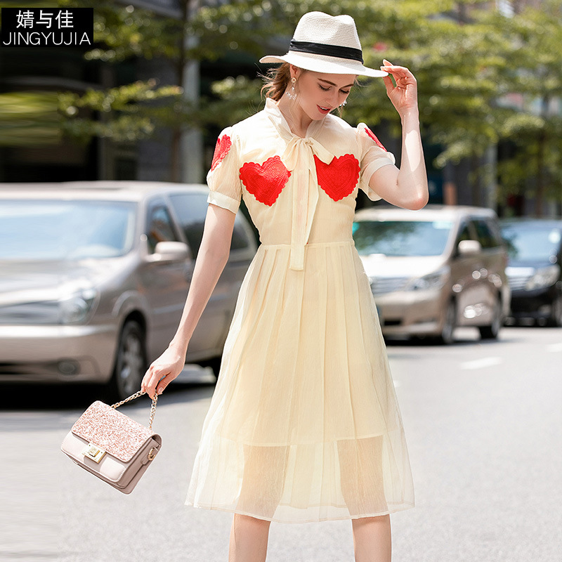 Summer Dress 2019 Women 39 s New Bow Collar Short Sleeved Heart Embroidered Slim Perspective Pleated Dress Female S XL in Dresses from Women 39 s Clothing