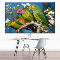 ZZ1649 HD Print Artistic Paint Parrot Bird Oil Painting On Canvas Modern Abstract Wall Painting For