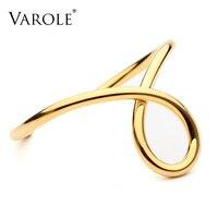 VAROLE Simple Lines Exaggerated Bracelet Noeud Armband Gold Silver Color Bracelet For Women Cuff Bracelets Bangles