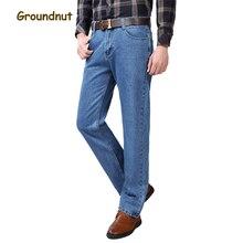 Арахисовое бренд 100% натуральный хлопок Одежда высшего качества бизнес длинные джинсы мужские Дизайнерская одежда джинсовые штаны Мужской 2017 повседневные штаны