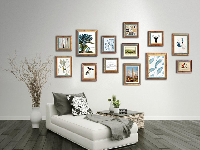 European Style American Solid Wood Mashup Photo Wall Retro Old Background  Wall Creative Wall Frame