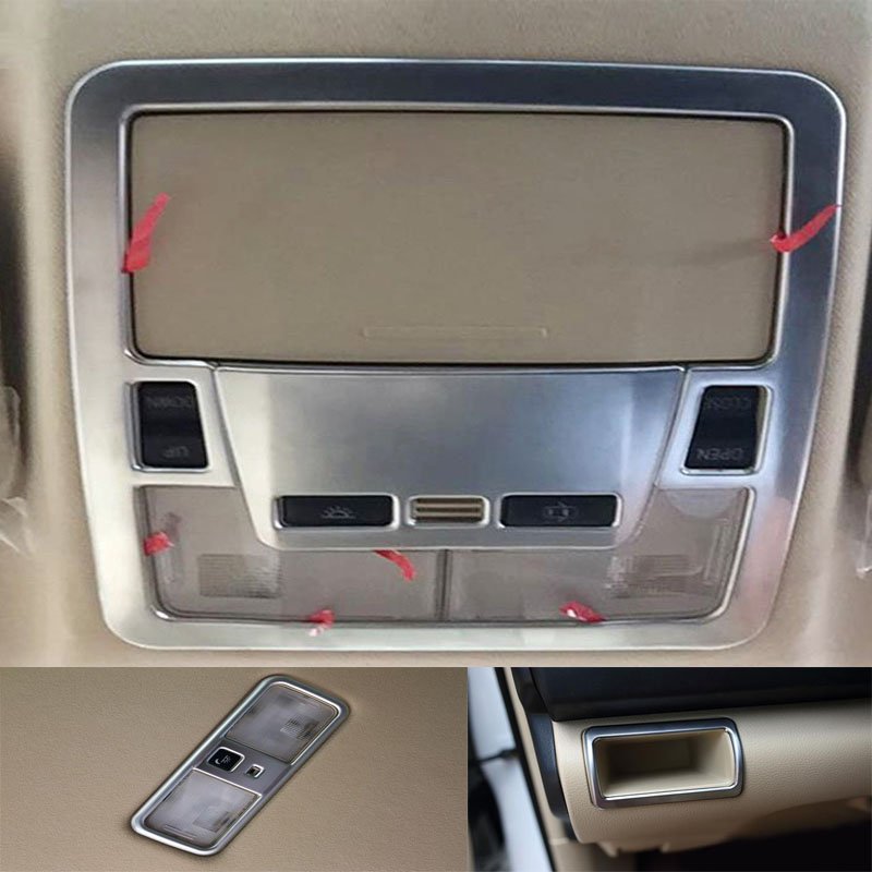 Bbincar Matte Chrome Interior Reading Light Lamp Cover Trim Frame Front Rear Car Molding Decoration For Toyota Camry 2015