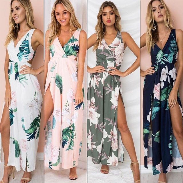 b3b5280eee2 2018 Women Floral Sleeveless Jumpsuit Rompers Lace Up Playsuits Summer  Loose Pants Casual Bodycon Split Deep V-neck Jumpsuits