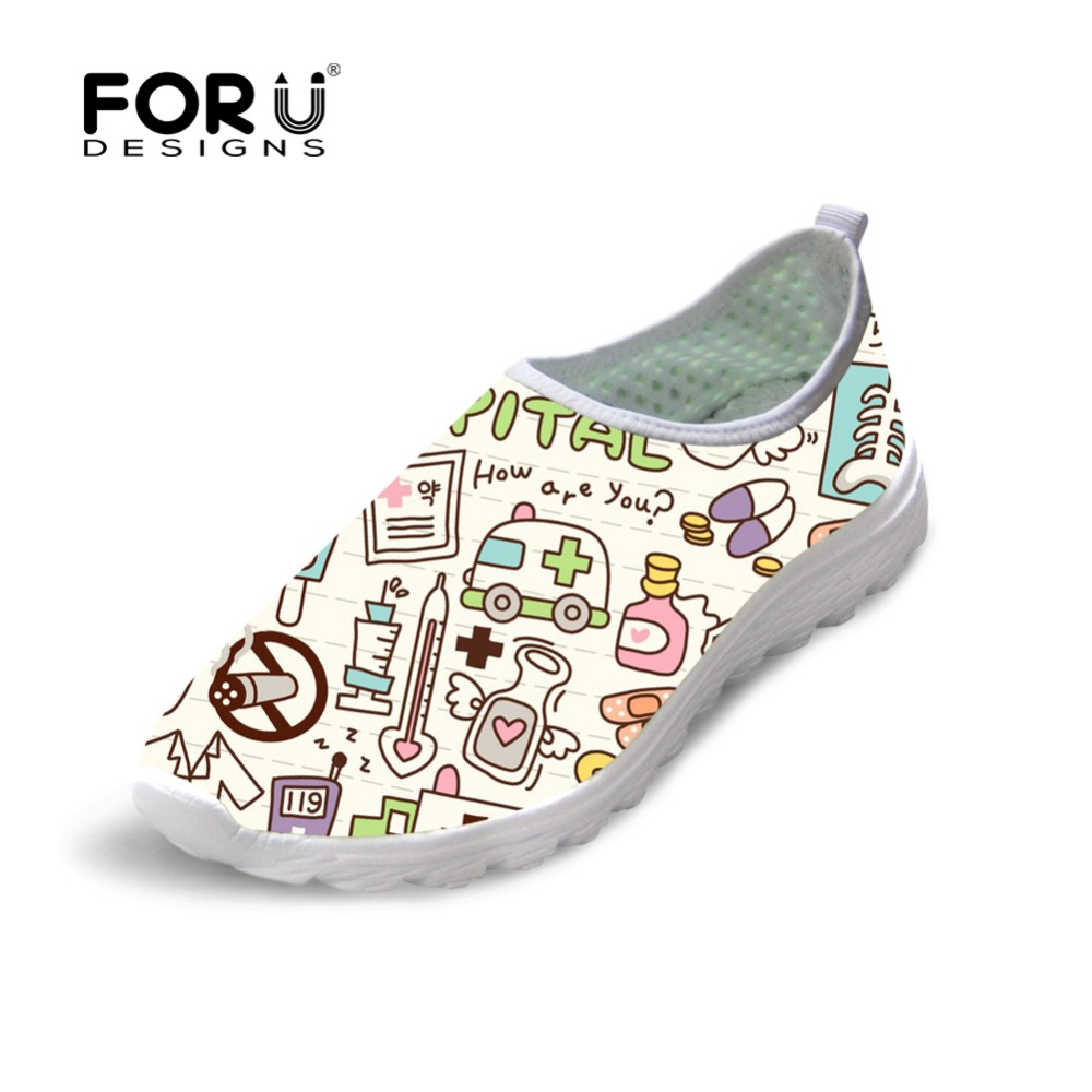 FORUDESIGNS Cute Women Nurse Sneakers Spring Summer Flats Breathable Mesh Shoes for Woman Fashion Girls Casual Beach Light Shoes