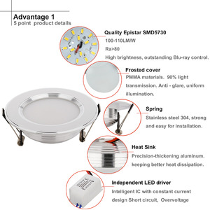 Image 3 - 3W 5W 7W LED Ceiling Downlight LED Recessed Cabinet Wall Spot light Down Lamp Gold Silver Cold White Warm White