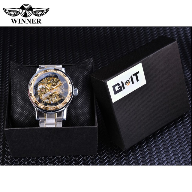 Winner Transparent Fashion Diamond Luminous Gear Movement Royal Design Men Top Brand Luxury Male Mechanical Skeleton Wrist Watch 6