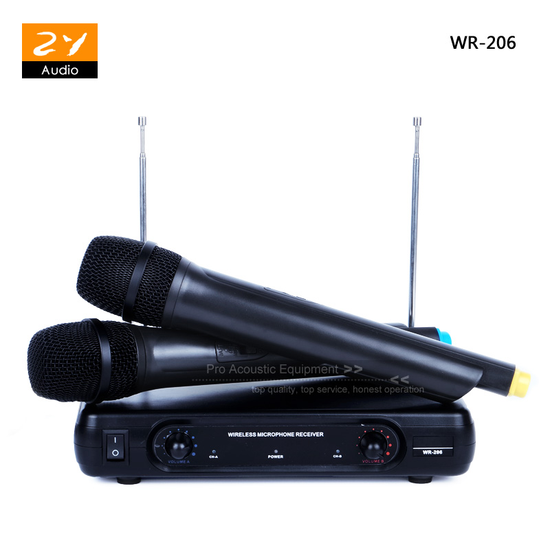 professional wireless system vhf dual handheld microphone 2 x mic cordless receiver for karaoke. Black Bedroom Furniture Sets. Home Design Ideas