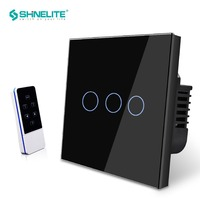 UK Standard light touch wall switch Black Crystal Glass Panel 3 Gang 1 Way push button Wall Switches with blue LED indicator