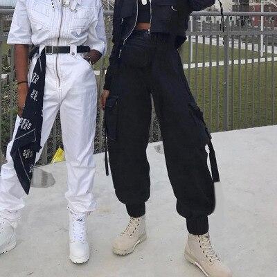 e10c47d09e5 Streetwear Cargo Pants Women Casual Joggers Black High Waist Loose Female  Trousers Korean Style Ladies Pants Capri