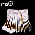 MSQ Profissional 15 pcs Pincéis de Maquiagem Definir Cabelo Sintético Macio Punho de Madeira Natural Com Capa de Couro PU Para A moda Beleza ferramenta