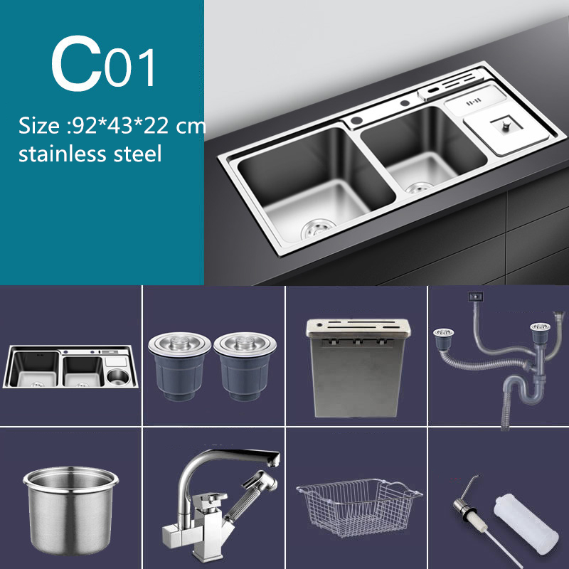 Stainless Steel Nano Sink Three Trough With Trash Can Knife Holder Sink Brushed Silver 92 * 43cm Sink Set Kitchen Sink