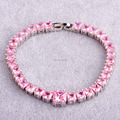 Luxuriant Gorgeous Fashion Pink CZ  Silver Bracelet Gift Dazzling Jewelry For Women Party Wholesale