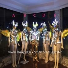 Новый светодиодный световой пикантные сценическое платье для танцев DJ Бар ТВ показать Подиум одежда певица Косплэй Костюмы для бальных танцев костюм