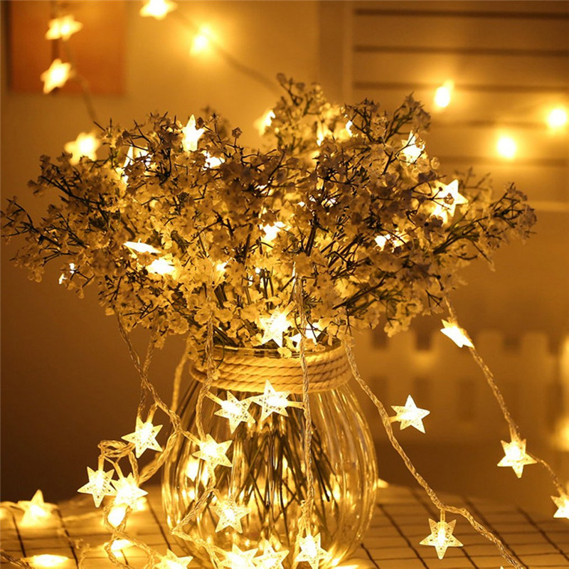 6M 40LED New Year Fairy Garland Led Star String Lights For Christmas Tree Natal Wedding Home Indoor Decorations Battery Powered
