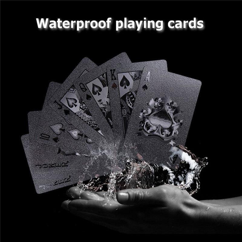 54 stücke Schwarz Diamant Kunststoff Spielkarten Sammlung Poker Karten Schwarz Poker Karte Sets Klassische Zaubertricks Werkzeug Bord Spiele