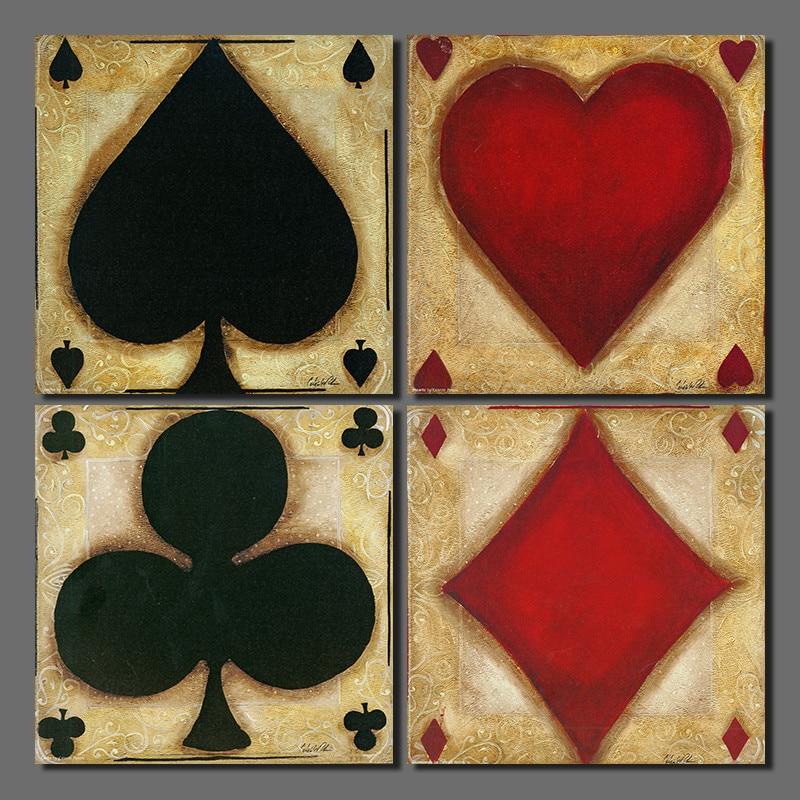 Modern Poker 4 Pcs Decoration Playing Card Spade Heart