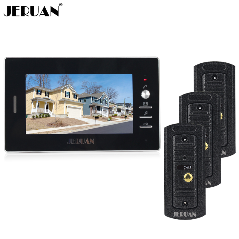 JERUAN Home wired 7 inch color screen video door phone intercom system + waterproof metal pinhole Cameras In stock FREE SHIPPING brand new wired 7 inch color video intercom door phone set system 2 monitor 1 waterproof outdoor camera in stock free shipping
