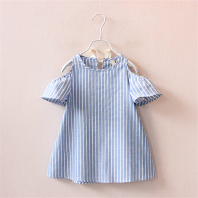 2017 Baby Toddlers Kids Girl Striped Dress Flare Sleeve 100% Cotton Casual Off Shoulder Dresses 1-5Y 2pcs children outfit clothes kids baby girl off shoulder cotton ruffled sleeve tops striped t shirt blue denim jeans sunsuit set