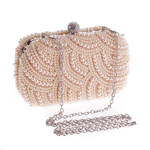 Imitation Pearls Beaded Evening Bag for Women Long Chain Wedding Banquet Bag Female Ladies Fashion Clutch Purse for Party L567
