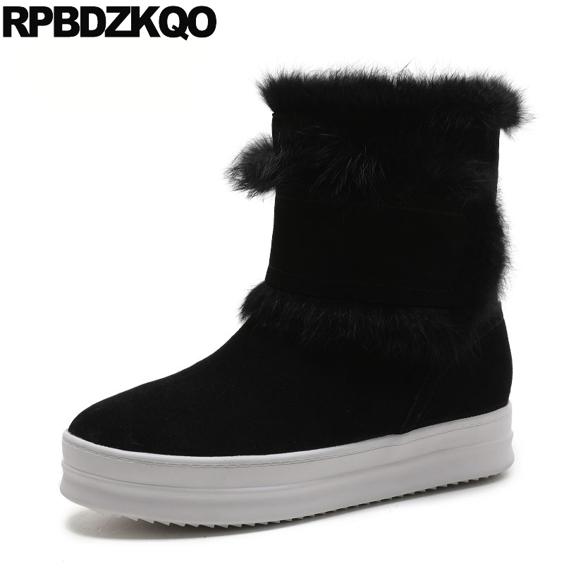 Short Snow Black Genuine Leather Round Toe Shoes Luxury Ankle Slip On Flat Side Zip Boots Real Fur Low Heel Fashion Chinese farvarwo formal retro buckle chelsea boots mens genuine leather flat round toe ankle slip on boot black kanye west winter shoes