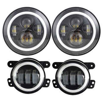 7 Inch LED Halo Headlights + 4 Inch LED Fog Light DRL Amber Turn Signal Combo Kit For Jeep Wrangler JK 2007-2017 Accessories