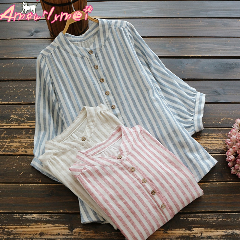 Stand Collar Striped Loose Batwing Sleeve Cotton Linen Shirt Mori Girl Summer Women Tops And Blouses Khaki Pink Blue