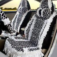 18 шт. мода Леопардовый Универсальный Автомобильный Чехлы для сидений мотоциклов для Для женщин кружевное платье с цветочным рисунком Плюше