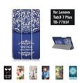 Цветочные Кожаный Чехол Stand Case для Lenovo TAB3 Tab 3 7 Плюс 7703 7703x TB-7703X TB-7703F 7 Дюймов Планшетный + Экран протектор + Стилус