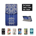 Floral capa de couro stand case para lenovo tab3 tab 3 plus 7 7703 7703x tb-7703x tb-7703f 7 polegada tablet + tela protector + stylus