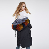 American Style Winter Women S Fashion Loose Split Big Real Rabbit Fur Liner And Raccoon Fur