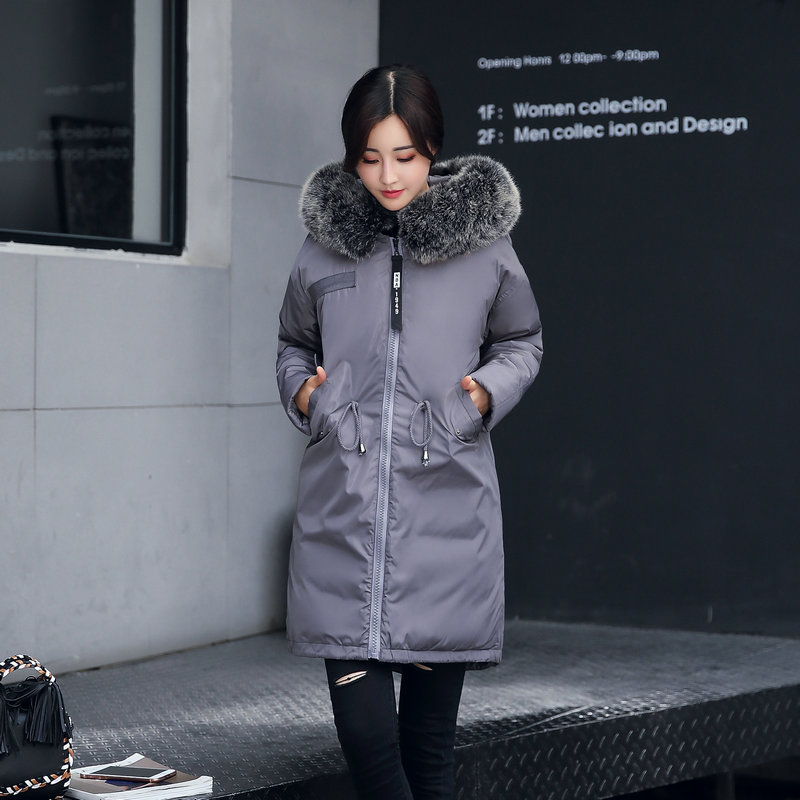 2017 New Women Winter Jacket Large Fur Collar Hooded Woman Parka Thick Cotton-padded Jacket Womens Warm Coats Plus Size Overcoat new fashion winter jacket women fur collar hooded jacket warm thick coat large size slim for women outwear parka women g2786