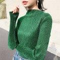 2016 Корейский Новый Fashon Футболки Осень С Длинными рукавами Пуловеры Блузки Полу Металлик Яркие Шелковые Глянцевые Дамы Модные Рубашки