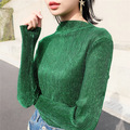 2016 Korean New Fashon Tshirts Autumn Long-sleeved Pullovers Metalic Blouses Semi Bright Silk Glossy Ladies Trendy Fashion Shirt