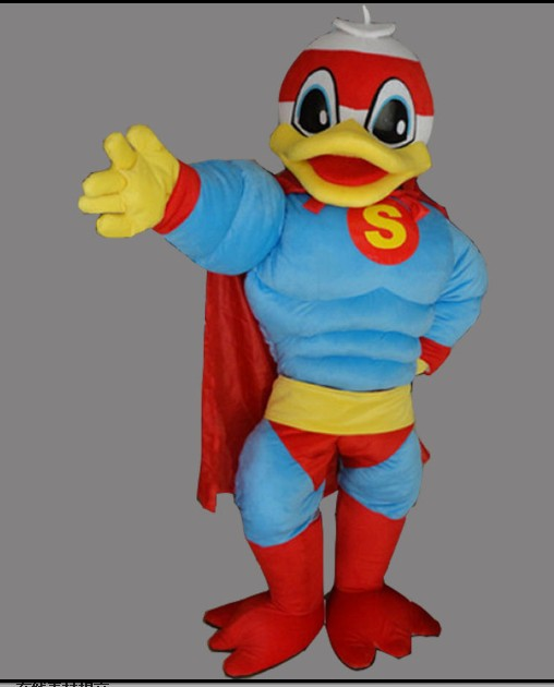 Superman Donald canard Mascotte Costumes canard dessin animé personnage Costume Cosplay thème Mascotte carnaval Costume Cosplay tenues adulte