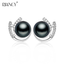 Summer New Arrival Women Pearl Earring Fine Shinning Zircon Genuine Natural black Freshwater For