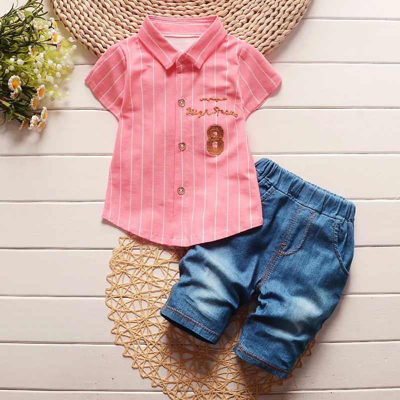 2016 Summer Baby Boys Clothes Sets Lapel Short Sleeve Shirt+Shorts 2 Pcs Kids Suits Children Casual Suits Infant/Newborn Suits