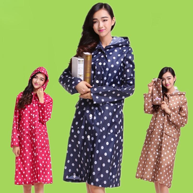 Meltset Dot Trench Coat Style Hooded Raincoat Women Long Rain Jacket Waterproof Windbreaker Outdoor Poncho Rainwear