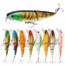 8Pcs/set 3 Segments Jointed Wobbler Minnow Fishing Bait Lures 11.5cm 15g Sea Crankbait 6# Hooks Lip Lure Swimmer