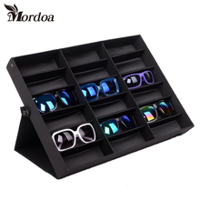 Mordoa Glasses Storage Box 18 Grid Sunglasses Display Shelf Sunglass Organizer Rack Eyewear Storage Usage Jewelry Display