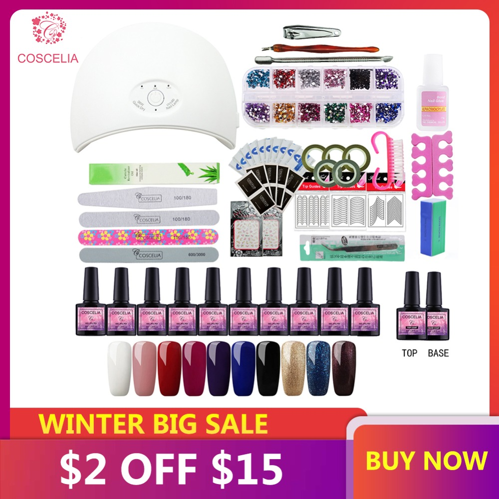Uñas 36 W UV lámpara LED secadora con 10 piezas de uñas de Gel polaco Kit de remojo manicura herramientas esmalte de uñas de Gel para uñas de arte