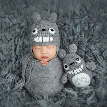 Newborn Photography Props Cute Baby Hats Caps Cartoon Totoro Toy Set Infant Knit Hat Baby Photo Prop Accessories Cap Fotografia yundfly knit baby hat newborn photography props candy color flower beanie cap baby fotografia hair accessories