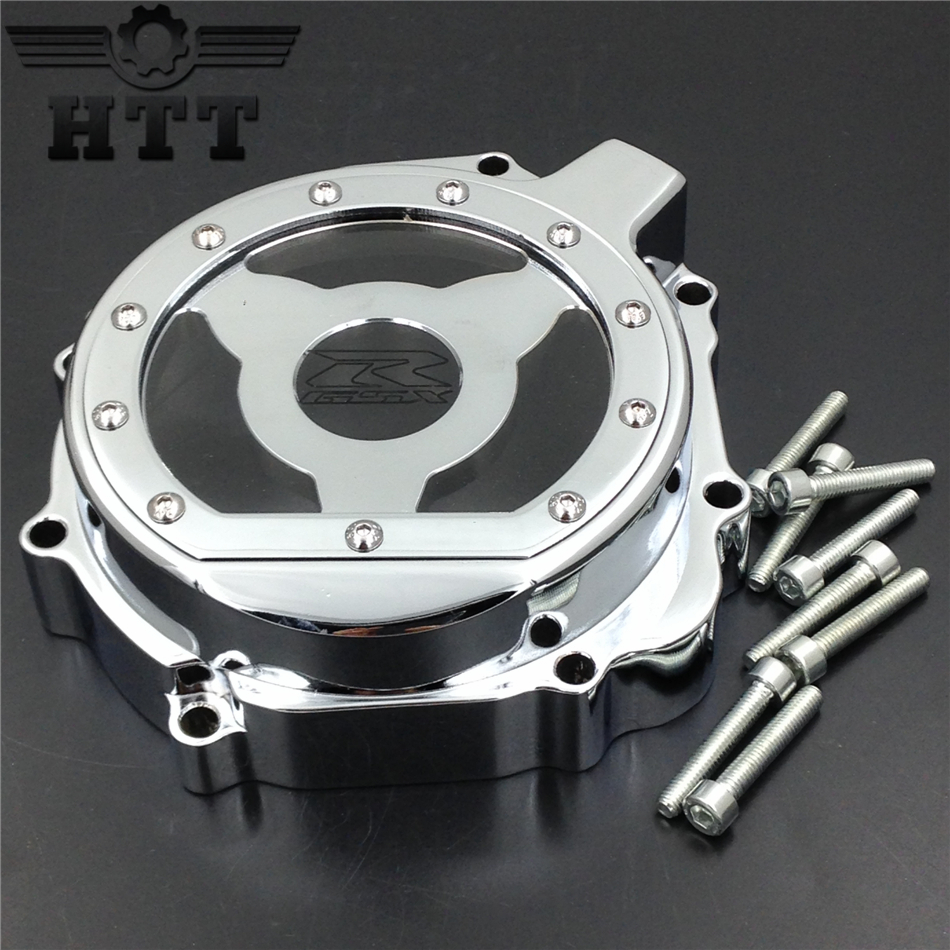 Aftermarket free shipping motorcycle parts Billet Engine Stator cover see through  for Suzuki 2004 GSXR600 750 1000  left CHROME for motorcycle suzuki gsxr 600 750 2006 2013 engine stator cover see through chrome left side
