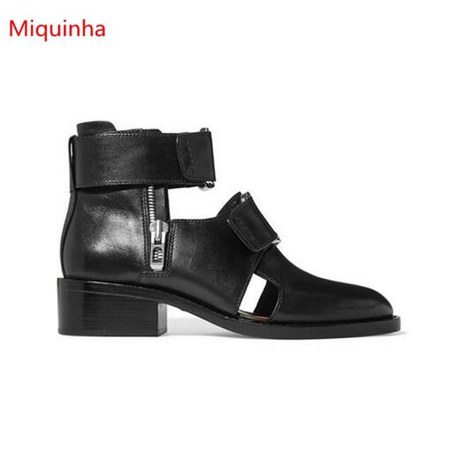 7dee5a768db Miquinha Nouveau Noir Hommes Cheville Bottes Bout Pointu Évider Homme  chaussures Talon Carré Martin Bottes Mode