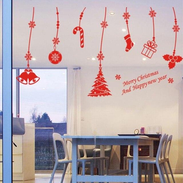 DIY Home Decor Jingle Bell Gift Christmas Wall Sticker Removable - Christmas wall decals removable