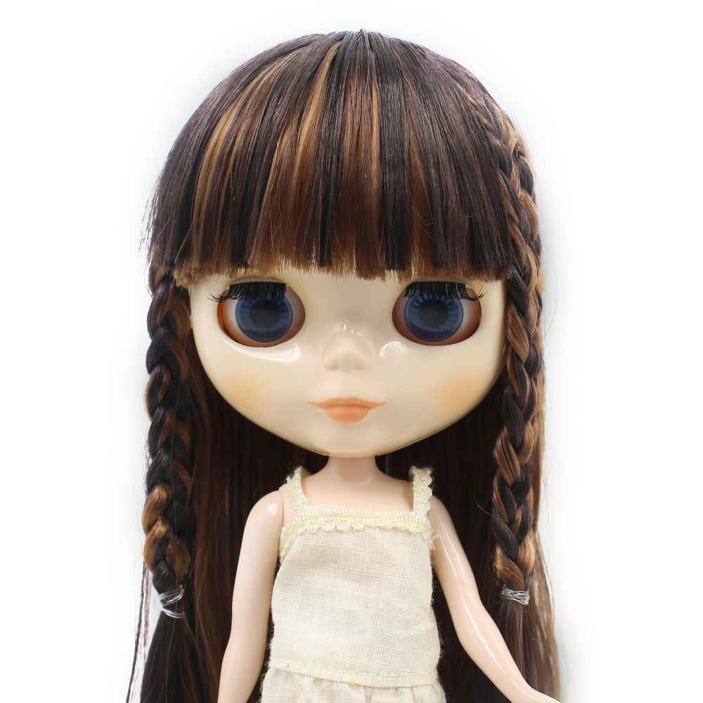 купить free shipping factory blyth doll bjd neo dark brown mix light brown hair with bangs free shipping 280BL9158/0312 1/6 gift toy