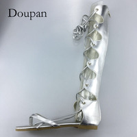 Doupan Knee High Sandals Boots Women Mature Sandals Lady Summer Lace Up Gladiator Sexy High Quality